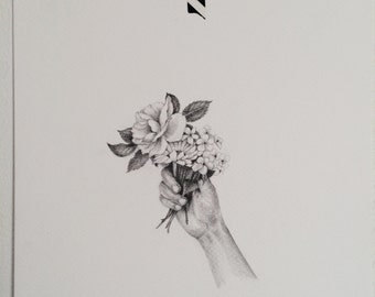 """Original 8""""x10"""" hand holding flowers pencil drawing"""
