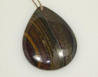 Gemstone Focal Pendant, Tiger Iron, 50x37 mm