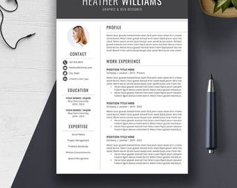 Creative Resume Template | CV | Cover Letter Word | Professional, Modern, Simple Resume Design | Instant Download | PC or Mac | HEATHER