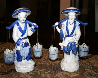 Chinese Water Carriers//Man and Woman Water Carriers//Blue and White Figurines//Oriental Statues//Vintage Statues