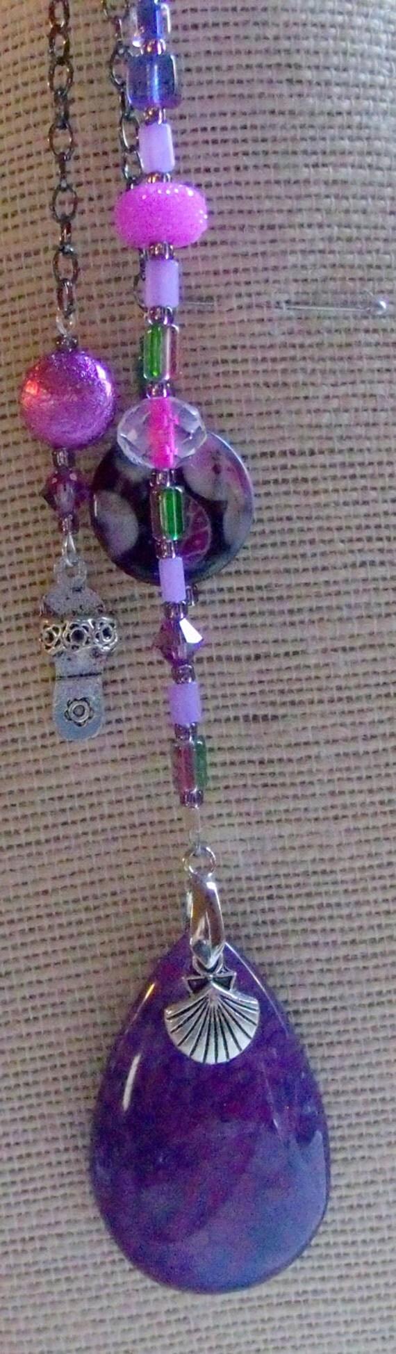 Purple sun catcher - window art - agate pendant  - chakra - reiki - sandal charm - meditation - yoga gift - dorm decor - LizPoriginals