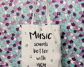 Gifts for musicians, Tote canvas bag, Music art, Cotton fabric, Music gifts, Music lovers, Reusable Bag, printed tote bag, beach bags, totes