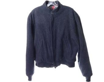 Vintage Wool Bomber Jacket Mens Large