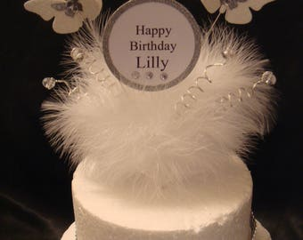 a glitter butterfly crystal white Feather Birthday Cake Topper any Name