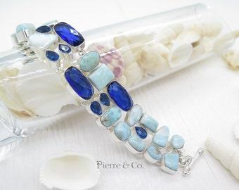 Larimar and London Blue Topaz Sterling Silver Bracelet