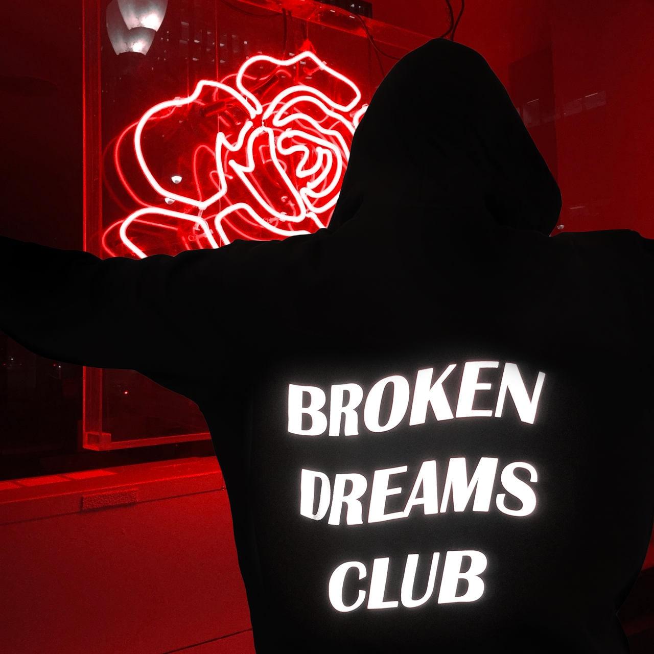 Broken Dreams Club Reflective Hoodie Black Tumblr Inspired