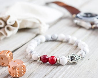 8mm - White howlite and faceted red coral beaded silver Hamsa hand stretchy bracelet, made to order bracelet, mens bracelet, womens bracelet