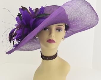 High Quality NEW Kentucky Derby, Church, Wedding, Tea Party Sinamay Feather Flower Wide Brim Dress Hat 508 ( Purple )