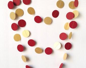 """Dark Red & Gold Garland - 1 1/2"""" Circle - 10ft Garland - Christmas/Holiday Garland- Ready To Ship"""