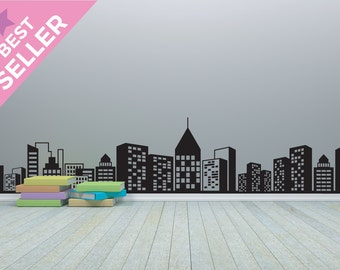 City Skyline Wall Decal - Cityscape Wall art stickers - Vinyl Graphic Wall Sticker
