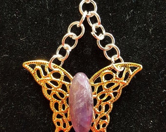 Butterfly Pendant with Natural Amethyst