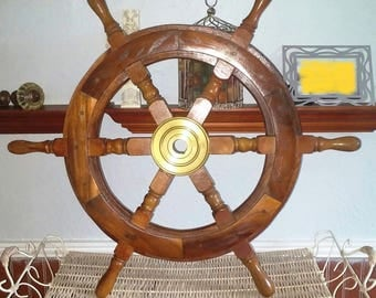 Vintage Wooden Ship Wheel Nautical Pirate Antique Collectible Decorative 24 ""