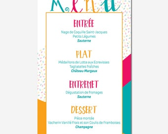 -Geometric - colorful - printing - customizable wedding menu calligraphy