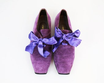Vintage Lavender Suede Wedge Sneakers with BowTie size 7