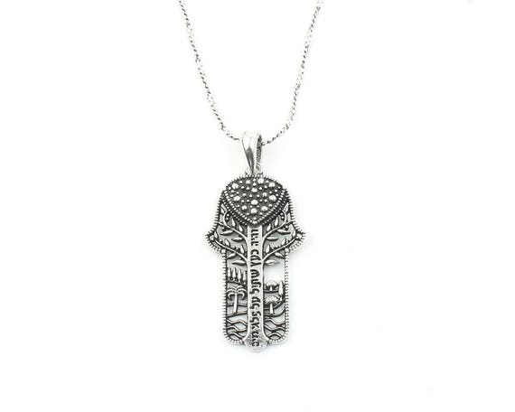 Sterling Silver Hamsa Necklace, Jewish Jewelry, Hebrew, Israeli, Hand Necklace, Spiritual, Boho, Gypsy, Festival