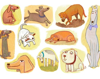 Giclee art print - Dogs - Illustration wall art