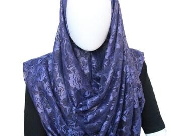 Religious scarf,Head wrap for Muslims,Blue handmade hijab,Easy to wear hijab,Ready to wear net hijab,Muslim fashion,Instant stylish hijab,