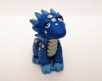 OOAK Handmade Polymer Clay Fantasy Baby Blue Dragon Sculpture