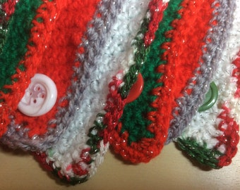 Crochet Christmas  bunting, traditional colours decorated with big buttons