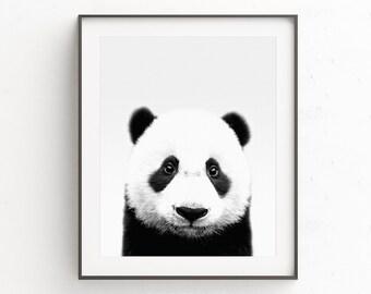 Panda Bear print, nursery kids room panda wall art, panda bear nursery art, printable download print, nursery animal print