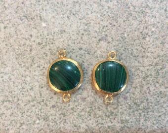 2 pcs 22k gold plated malachite connector  boho jewelry making supplies