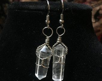 Clear Quartz Crystal Earrings