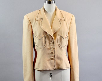 Vintage 1980s Macaroon Yellow Blazer. Notched Collar Women Blazer. Tulip Pockets Blazer. Embroidered Blazer. Notched Collar Yellow Jacket.