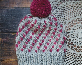 Knit Beanie | The Cupid | Slouchy Beanie | Pom Pom Hat | Chunky Knits | Baby, Toddler, Child, Adult