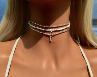 White Choker Necklace - Boho Choker Necklace - Bohemian Necklace - Beach Jewelry - Bridal Choker - Beach Choker