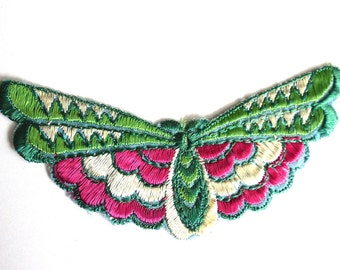 Butterfly applique 1930s vintage embroidered applique. Vintage patch, sewing supply Antique Applique, Crazy quilt.  #6A7GB8KF