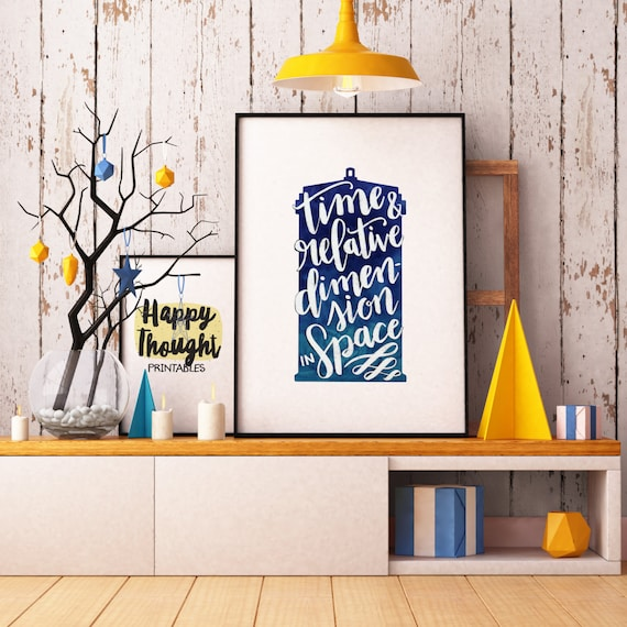 Printable Art, TARDIS, Time & Relative Dimension in Space, Pop Culture Quote, Doctor Who Print, Digital Download Print, Quote Printables