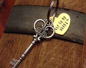 Key to my Heart Keychain; Metal Stamped Keychain; Heart Keychain; Keyfob; Gift for her; Gift for Him