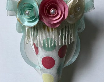 Paper Tussie Mussie, Victorian Cone,  Shabby Chic Cone