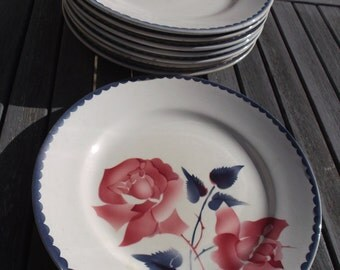 40s Longchamp plates: set of 8 antique dinner plates from Longchamp earthenware - antique flat Longchamp