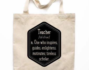 Teacher Gift, Teacher Tote Bag, Canvas Tote Bag, Definition of a Teacher, Market Bag, Shopping Bag, Reusable Grocery Bag 0122
