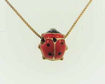 Vintage Enameled Lady Bug Charm Necklace- 14k Yellow Gold