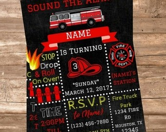 Fire Station Firefighter Personalized Birthday Invitation