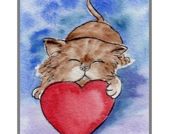 Mother's Day Card Hand-Painted, (not a print) can be personalised. Kitty & Heart.