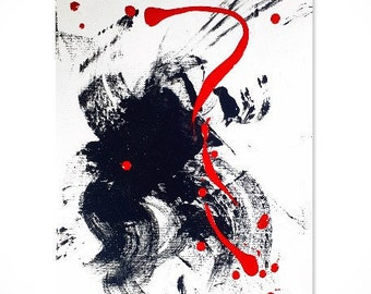 Abstract Acrylic Painting on Canvas - 9 x 12 - Contemporary Original Wall Art - Modern Art - Abstract Painting - Small - Red - White - Black