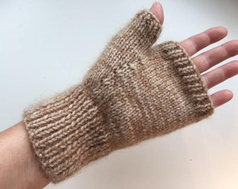 Supersoft hand knitted fingerless mitts - size S/M