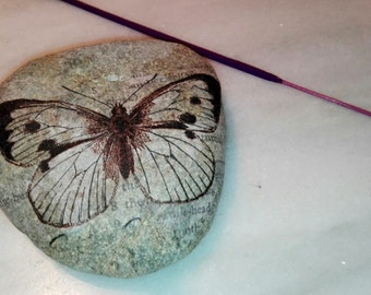 PAPERWEIGHT INCIENSARIO BUTTERFLY in stone natural, burner incense, portaincienso Butterfly