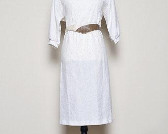 Vintage 1980's Cotton White Dress With Cream & Brown Belt