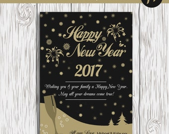 New Years Card Template, Happy New Year Card Template, Photoshop Editable Card,New Year Digital Card, Photography Template, Digital Template