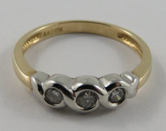 Ladies 10K Yellow and White Gold Diamond Trinity Ring SIZE 7