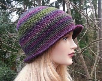 Purple Maroon Green Burgundy Cloche Hat. Women Hat. Hand Crocheted 1920s Style Cloche Hat. Winter Hat. Crochet Bucket Hat. Vegan Friendly