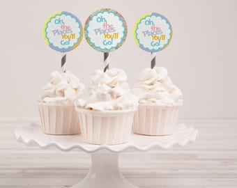 Instant Download - Oh the Places You'll Go Cupcake Toppers - Baby Shower - Graduation - Birthday