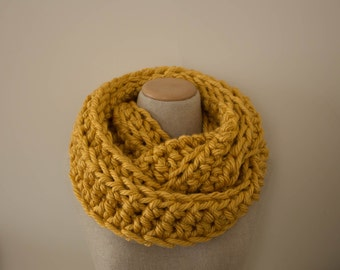 Mustard infinity scarf, gold circle scarf, super chunky knit scarf, crocheted infinity scarf, hypoallergenic scarf, goldenrod scarf