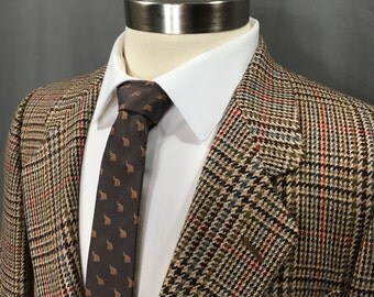 Vintage Pierre Cardin 1970s Jacket Blazer Sport Coat | Brown Houndstooth Plaid