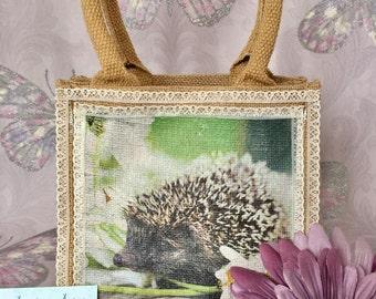 easter bag, hedgehog bag, gift bag, jute bag, hessian bag, hedgehog, hessian jute bag, bag, cute, mini shopper, jute, tote, jute tote