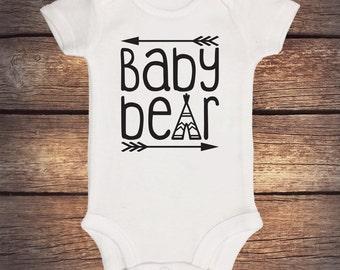 Baby Bear Onesie - Brother Bear - Sister Bear - Little Brother Bear - Sibling Onesie - Boho Baby Clothing - Teepee - Momma Bear- Papa Bear